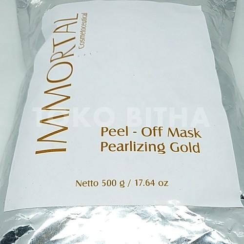 MASKER PEEL OFF PENCERAH DAN PENGENCANG KULIT WAJAH PEARLIZING GOLD 500 GR IMMORTAL LEBIH HEMAT 2